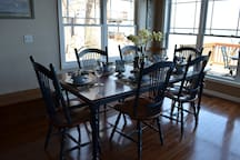 Dining room has seating for six.