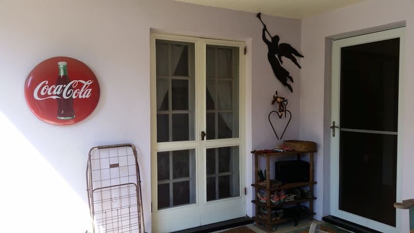 French doors to bedroom & front door