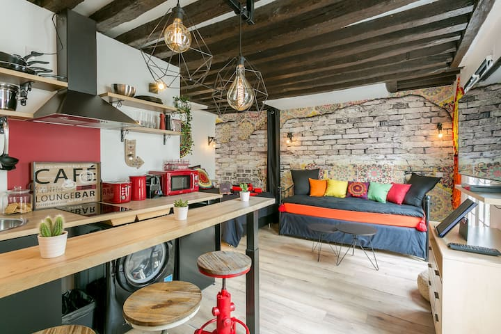 Nice & typical studio in central Paris Marais 4p