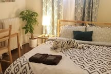 Share your bed with a tiger and luscious greenery in our Tiger room. Looks even better in person!