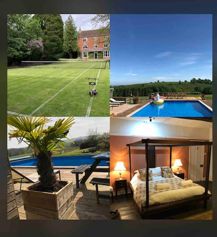 Boulsdon Manor with hottub, summer pool & tennis