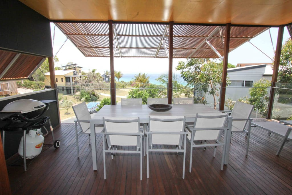 Coral Sea view to Moreton Island from the Verandah - Weber Q for outdoor cooking