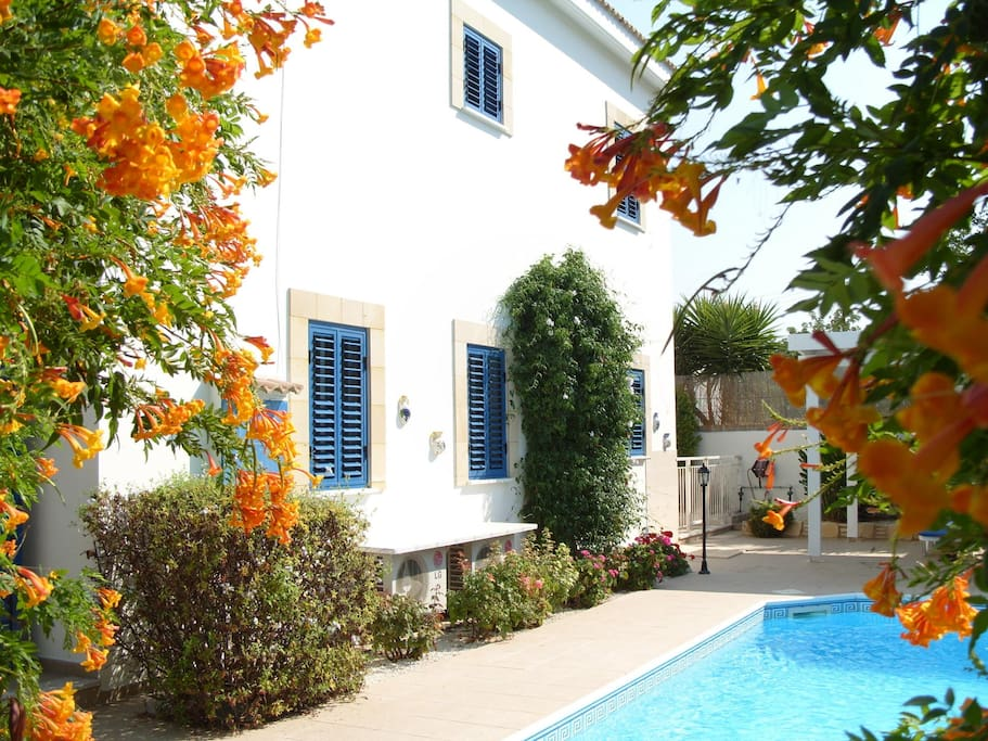 gated 8 x 4 pool with window shutters to keep villa cool