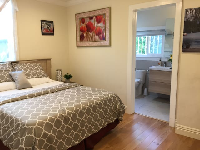 Master suite in a newly remodeled unit in Berkeley