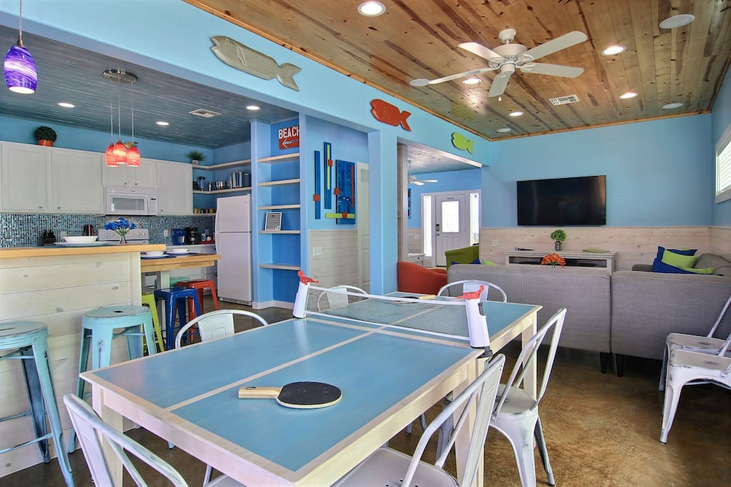 Ping Pong table doubles as a dining room table for the kids to enjoy.  Also doubles as a game table for family game night.