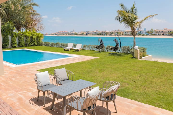 15000 Sq Ft Palm Mansion with Private Beach & Pool