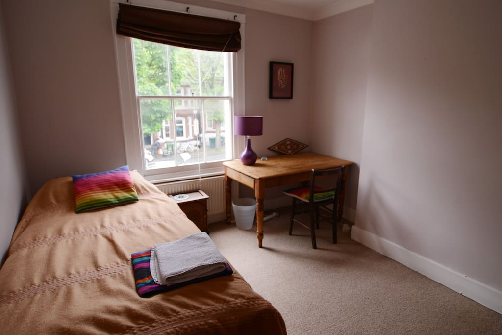 Large guest bedroom with single bed. With desk and storage drawers under the bed and space to hang clothes.