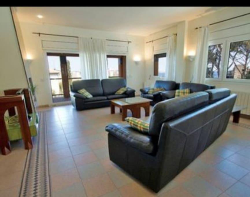 zona de sofás con la chimenea a la izquierda