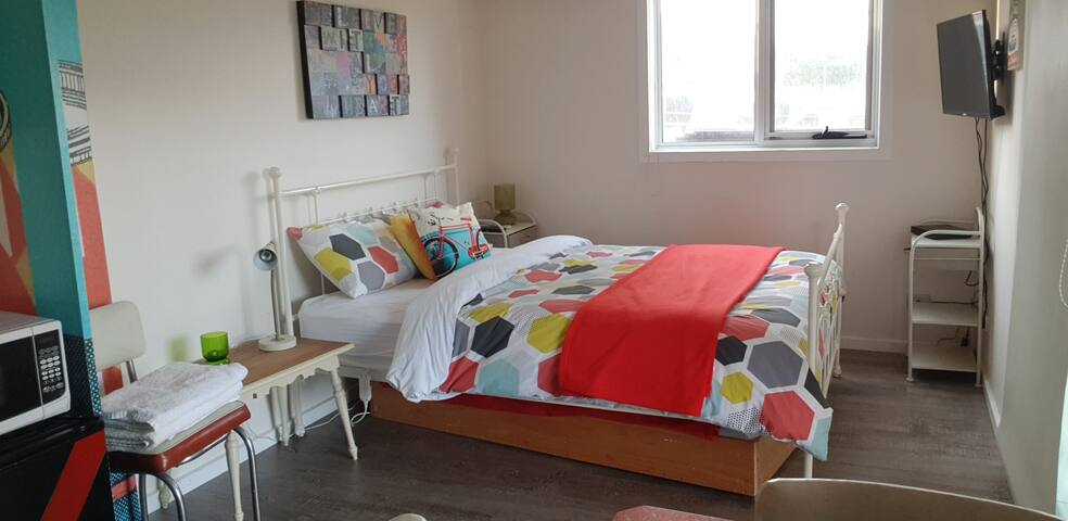 The self contained Granny , (poolroom) this space is included when booking for more than 5 guests, has a comfortable queen bed and trundle bed sleeps 3 guest.