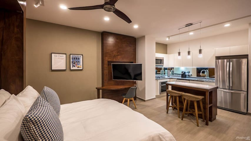 The space with Murphy bed open