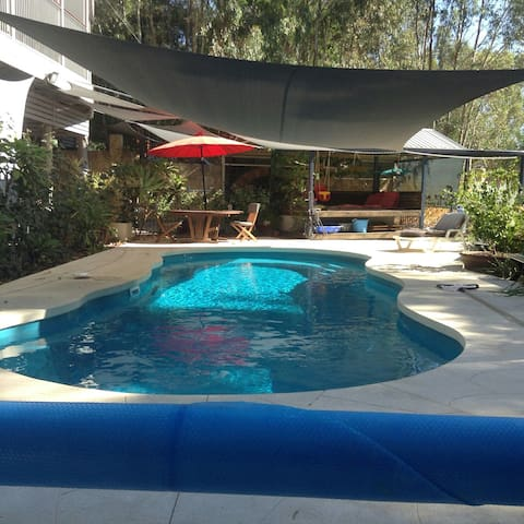 10mx4m solar heated salt water pool. Normally at 30 Celsius, during October to April. Also an undercover area for relaxing.
