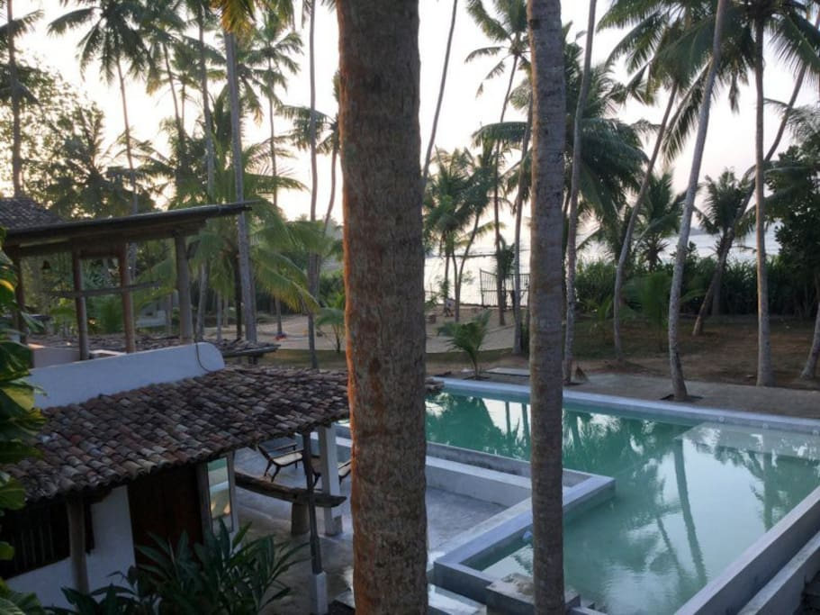 View from terrace on ocean and swimming pool