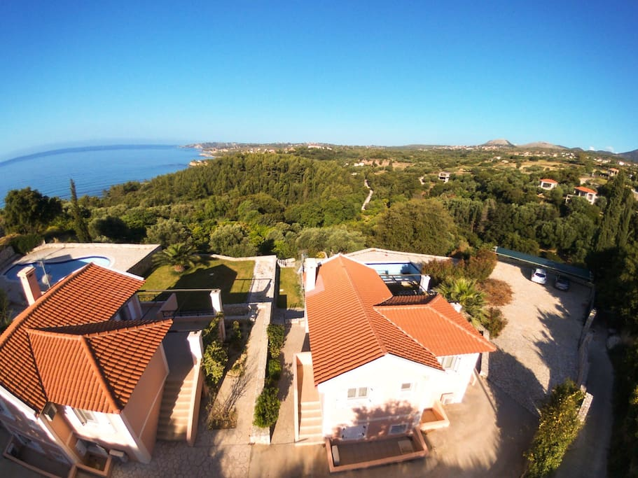 Panoramic view of the villa and the sea