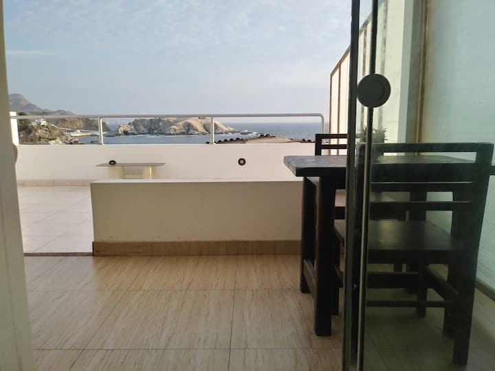 Depa San Bartolo. Teletrabajo con vista al mar