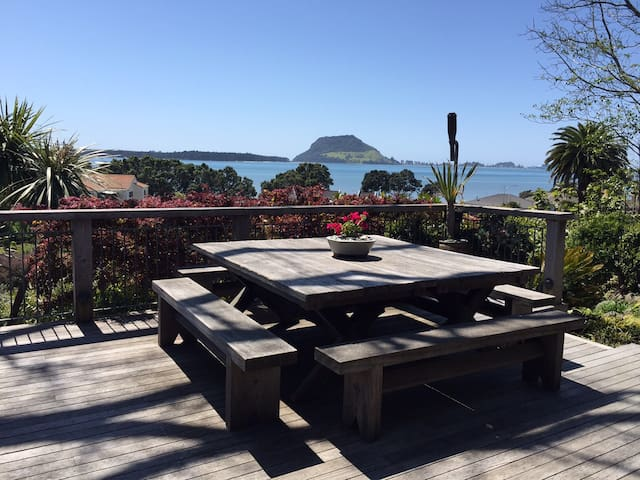 Guests are welcome to use outdoor areas. View of harbour overlooking Mount Manunganui