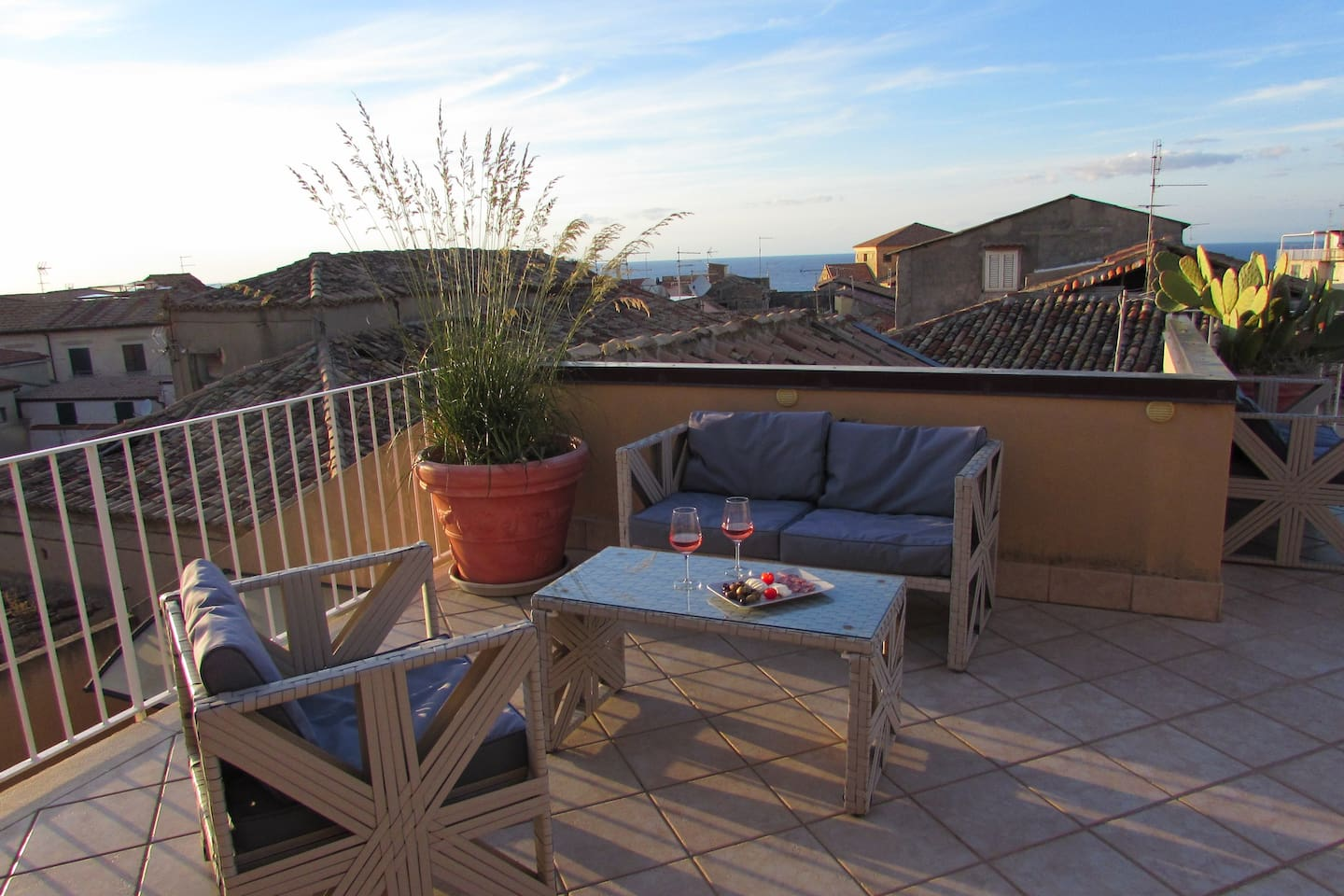 The roof terrace is shared by the whole house