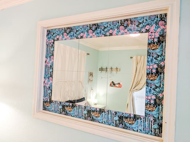Mirror in queen bedroom