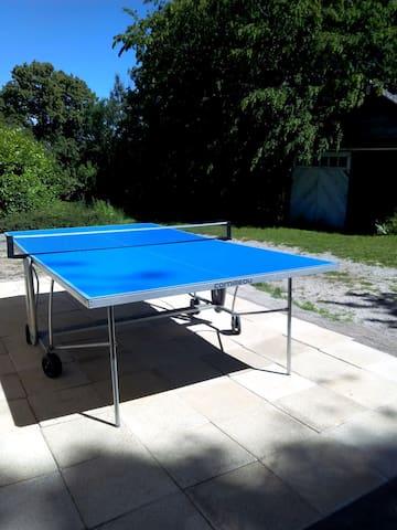 ping-pong sur le côté de la maison