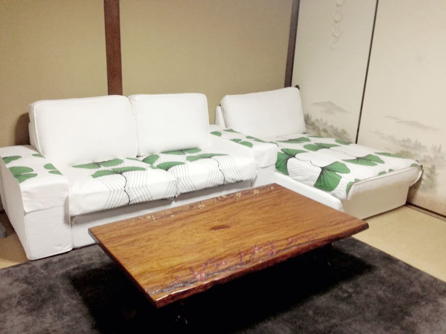 Comfy couch with Sakura wood table
