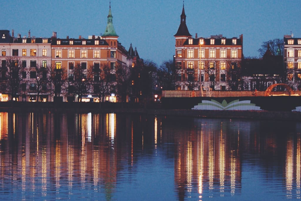 Great location at the end of the Lakes in Østerbro neighborhood of Copenhagen