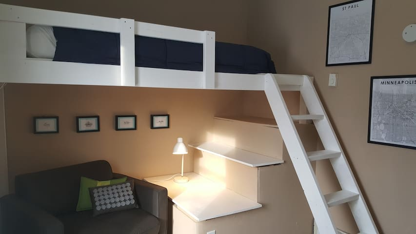 Second bedroom with loft twin bed and pull out chair