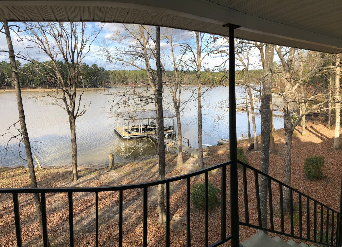 View of White Oak Creek. Can fish from dock, dock boat and have access to electricity.