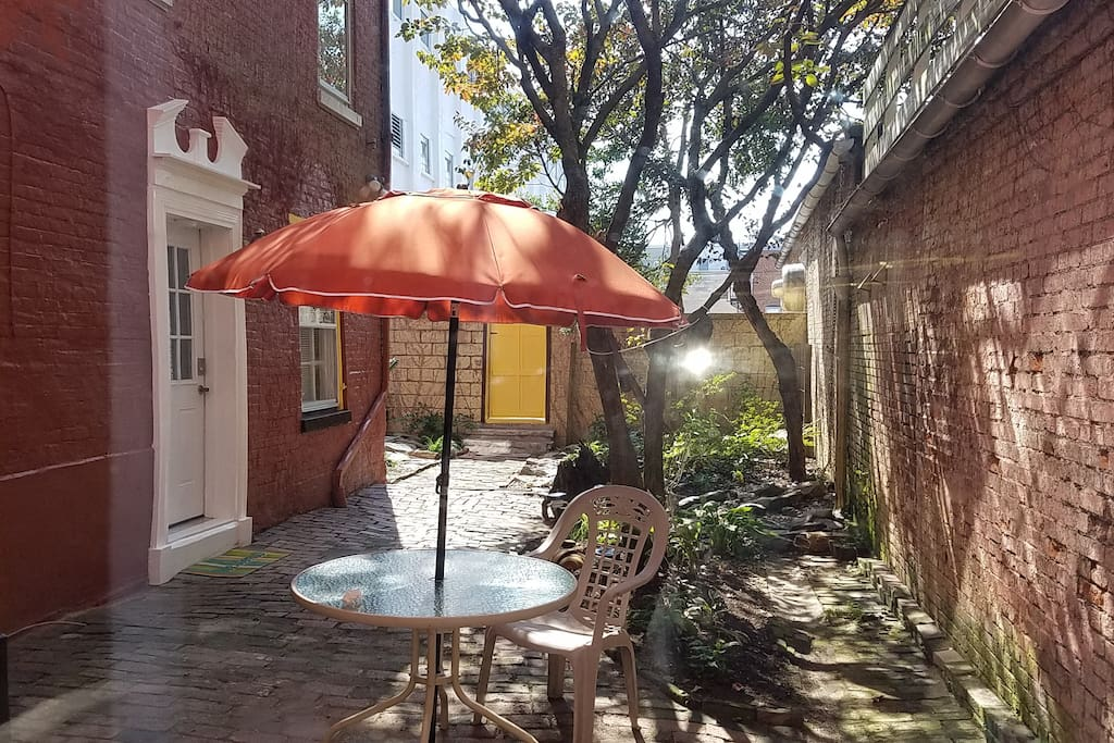 Your private courtyard with 1st floor entrance.
