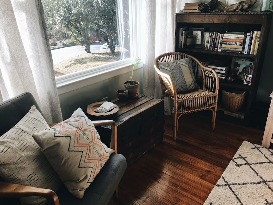 Reading nook - enjoy a cup of coffee and good book in this little corner of our home.