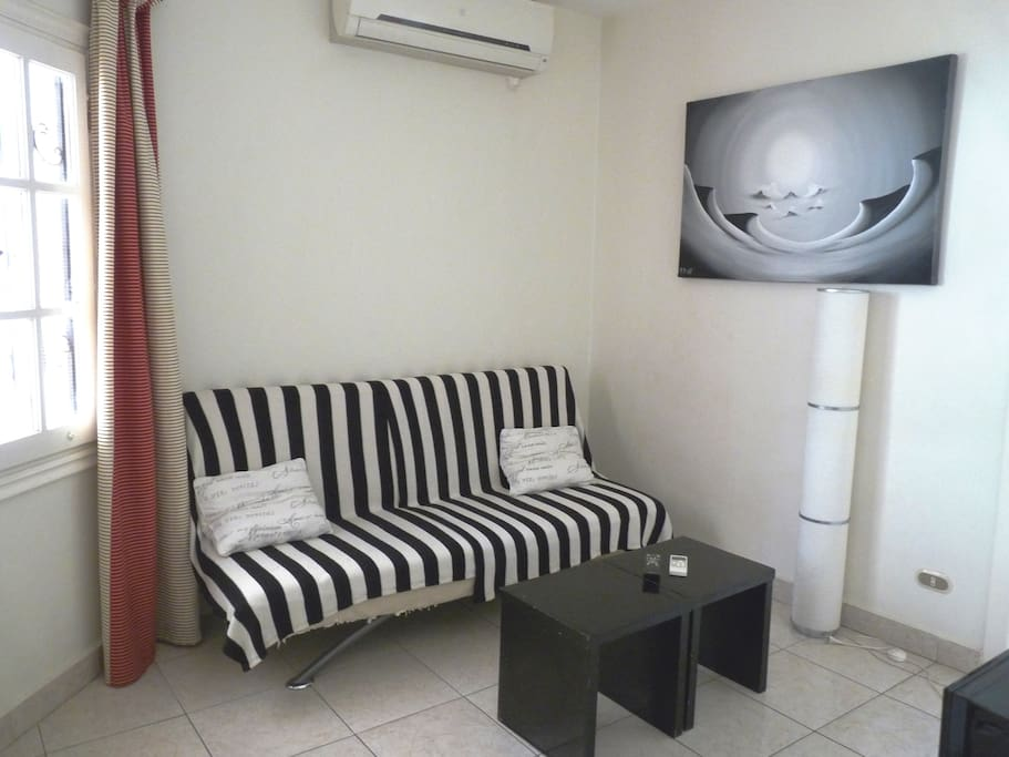 Living Area, Sofa Bed for One Adult or Two Kids