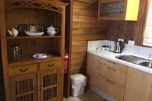 Cedar loft cabin kitchen