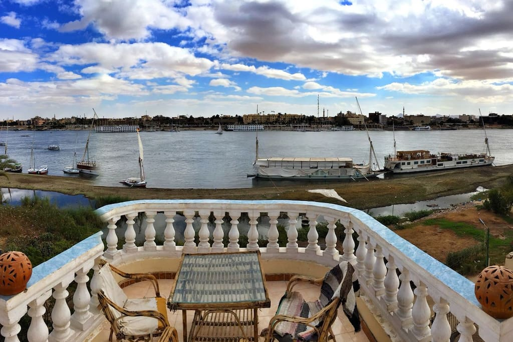 A panoramic Nile view on Luxor temple from the lower rooftop