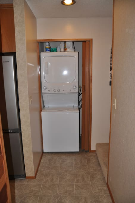 Washer and dryer for your use.  Laundry detergent supplied.