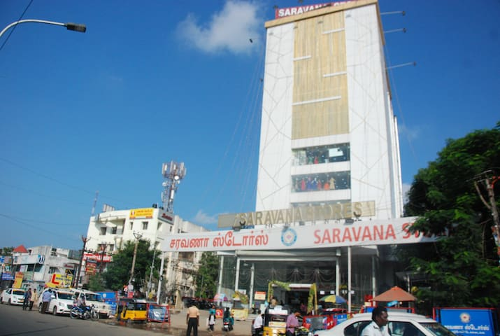 Five minutes travel to Saravana Stores
