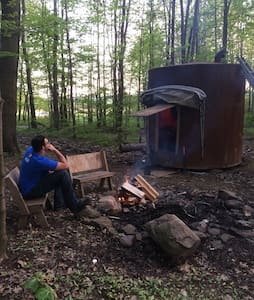 Oil tank cabin in the woods - Sugar Grove