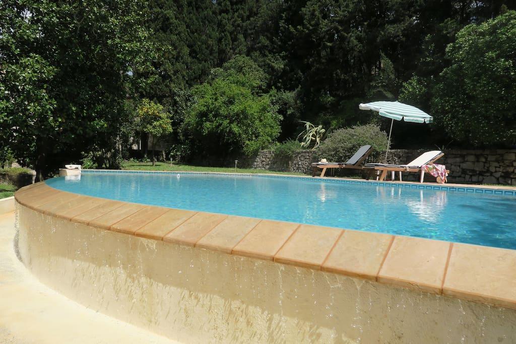 La piscine est dans un cadre de verdure...