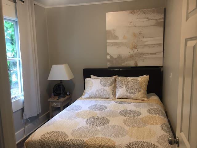 The junior bedroom r Put-in-Bay Suite features a queen bed just like the master and all of the amenities, too! Super comfy!