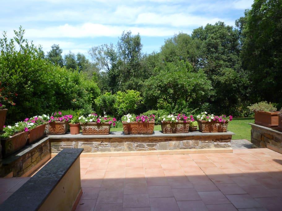 Vista del giardino dalla terrazza
