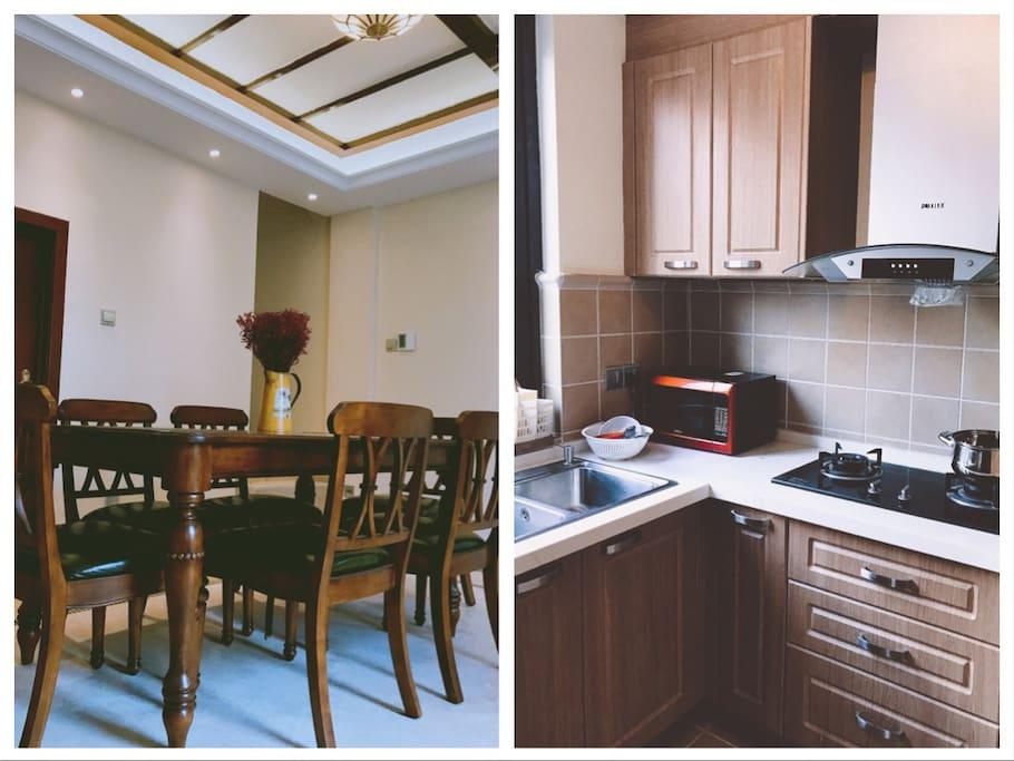 一楼是厨房和餐厅。厨房里配备了一些做饭的必需品。