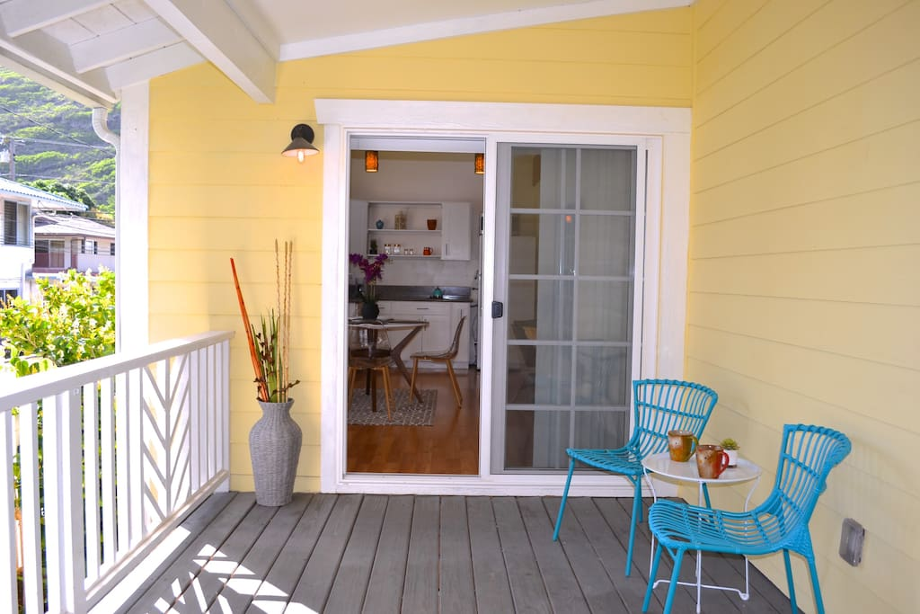 Your private entrance, your patio and your sitting area