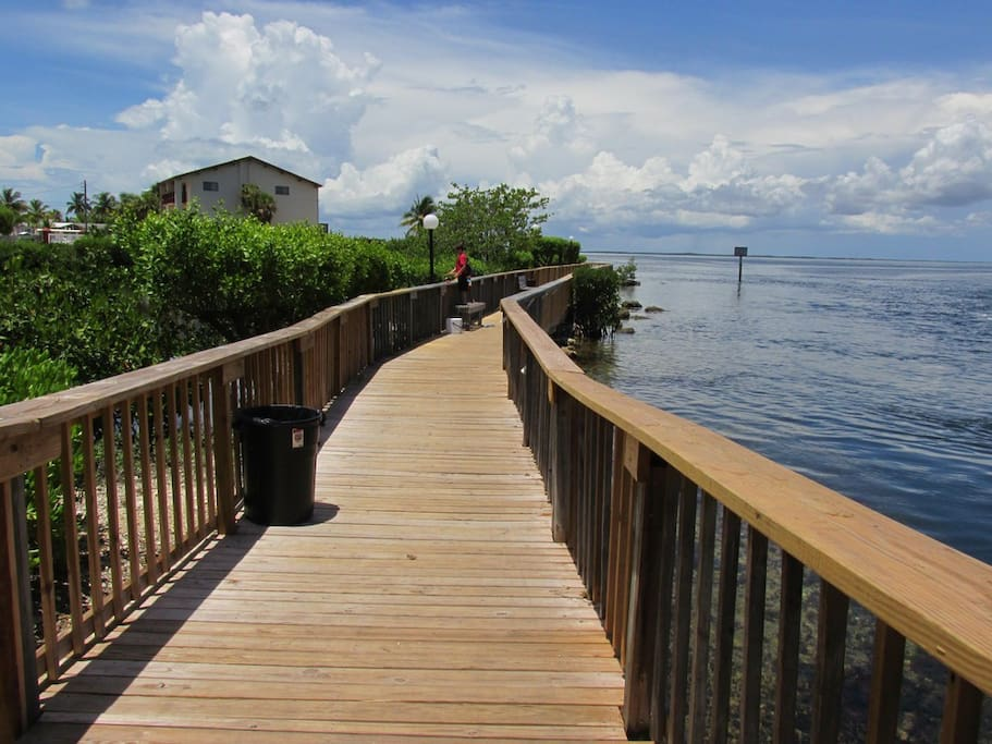 The boardwalk along the Adam's Cut where you can fish or shrimp.