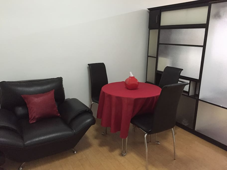 Our Black and Red themed dining area
