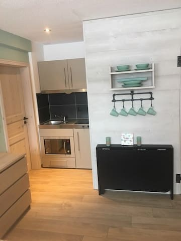 Kitchenette with oven and double hob and  fridge
