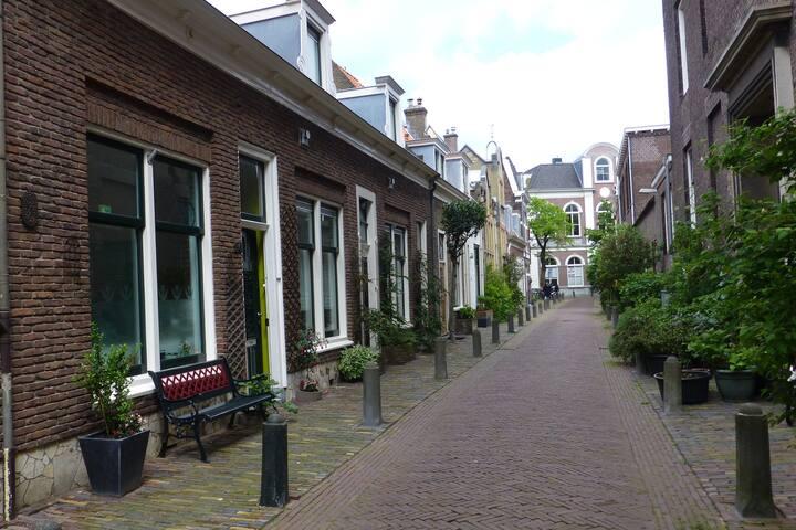 Rustige straat in het autovrije centrum van Haarlem