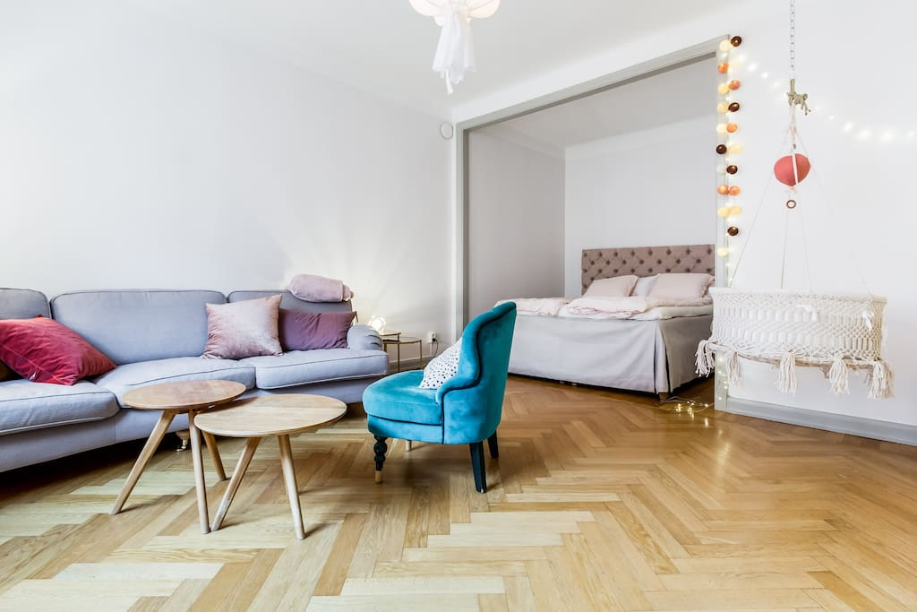 Bed and living room
