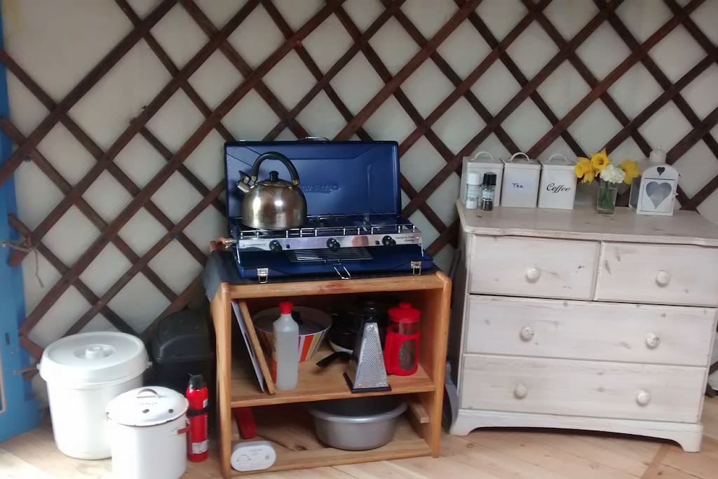 Kitchenette with 2 ring gas stove and grill, pots, pans etc