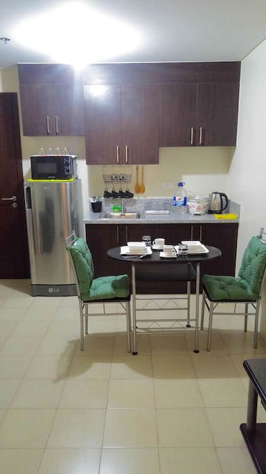 - kitchen equipped with tablewares and utensils, brand new fridge and microwave