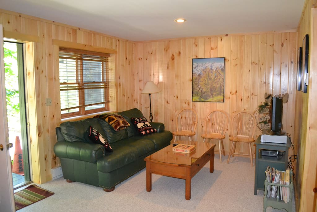 Lower level knotty pine den with TV
