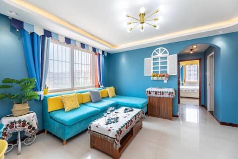 小柠檬 清新浪漫主题公寓 超大榻榻米近海两居 免费停车