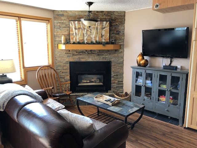 Comfortable living room with gas fireplace and full cable TV - many movie channels included