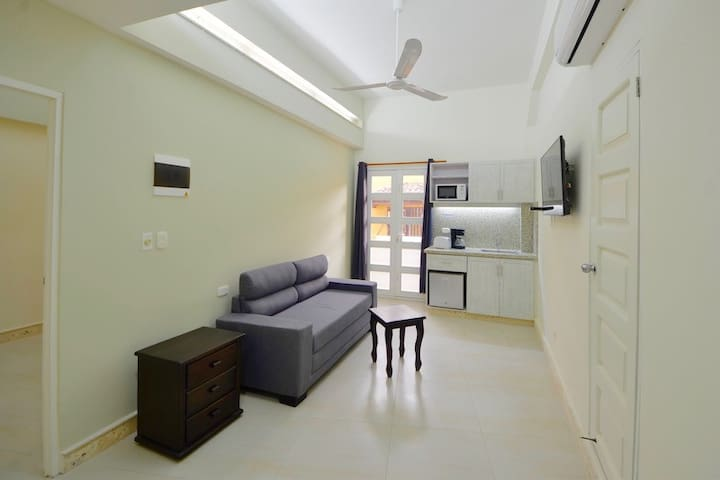 Living area with balcony, kitchenette,  sofabed, TV & full bath